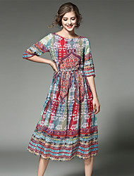 MAXLINDY Women's Boho Going out / Party / Holiday Vintage / Street chic /Midi Chiffon Dress