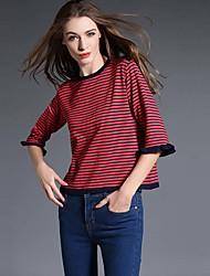 Tee-shirt Femme,Rayé Décontracté / Quotidien simple Eté Manches ¾ Col Arrondi Rouge Blanc Vert Coton Rayonne Fin