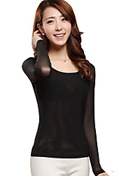 Women's Casual/Daily Sexy All Seasons T-shirt,Solid Round Neck Long Sleeve White Black Gray Spandex Sheer Thin