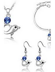 Bijoux 1 Collier 1 Paire de Boucles d'Oreille 1 Bracelet Cristal Soirée Alliage 1set FemmeLilas Blanc Jaune Bleu Vert Violet Incarnadin