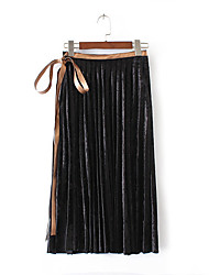 Women's Pencil Solid Skirts,Going out Casual/Daily Holiday Vintage Simple Chinoiserie Mid Rise Maxi Elasticity Cotton Polyester