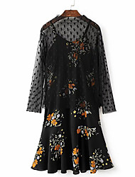 Women's Going out Casual/Daily Holiday Vintage Boho Street chic A Line Chiffon Dress,Polka Dot Floral Cut Out Layered Ruffle MeshRound