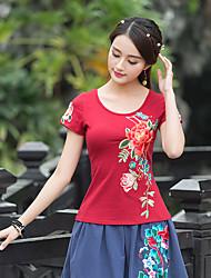 2017 été nouvelles femmes t-shirt à manches courtes, fines fleurs brodées brodés