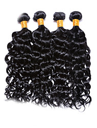 "4 Pcs Lot 12""-30"" Brazilian Deep Curl Virgin Hair Wefts Jet Black Remy Human Hair Weave  Tangle Free"
