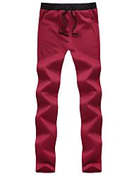 Hommes Droite Mince Chino Pantalon,simple Actif Décontracté / Quotidien Plage Vacances Couleur Pleine Taille Normale Cordon Coton