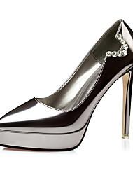 Women's Heels Spring Summer Fall Winter Light Up Shoes PU Wedding Office & Career Party & Evening Stiletto Heel Imitation PearlBlack