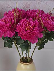 1PCS Vintage Artificial Peony Silk Flowers Bouquet Household Windowsill Adornment Plants