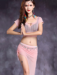 Belly Dance Outfits Women's Performance Linen Split Front 2 Pieces Short Sleeve Natural Top / Skirt