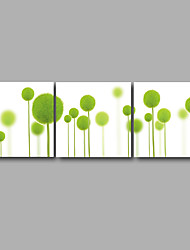 Stretched Canvas Print Three Panels 72inches x24inches Canvas Wall Decor Home Decoration Abstract Modern Green