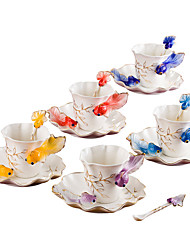 1PC European Porcelain Goldfish Coffee Cup Creative Ceramics Wedding Birthday Gift
