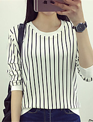 Fashion Round Neck Long Sleeves Wild Shirt Dating Play Home Daily Leisure Stripe T-Shirt