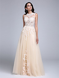 TS Couture Prom Formal Evening Dress - See Through A-line Jewel Floor-length Tulle with Appliques