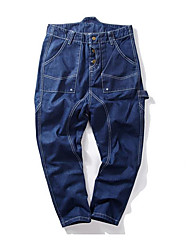 Men's Loose Jeans Pants,Casual/Daily Vintage Solid Mid Rise Button Cotton Micro-elastic Fall