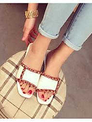 Women's Sandals Summer PU Outdoor Flat Heel White Black