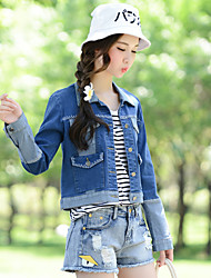 Sign new fall line of hand-stitching hook jeans personality was thin denim jacket female wild