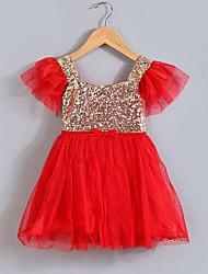 Girl's Patchwork Dress,Rayon Polyester Summer Short Sleeve