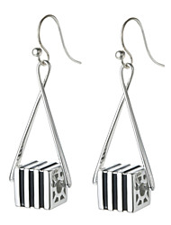 SILVERAGE Sterling Silver Striped Cube Drop Dangle Earrings