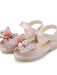 Girl's Sandals Summer Comfort Flower Girl Shoes Leatherette Wedding Outdoor Dress Casual Party & Evening Flat HeelBowknot Pearl Hook &