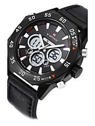 NAVIFORCE Men Watch Quartz Hour Digital Watch LED Sport Watch Military Army Leather Strap Wrist Watch