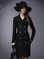 Feminino Casaco Para Noite Sensual Inverno,Sólido Lavar do Avesso Secar no Plano Algodão Colarinho de Camisa-Manga Longa Padrão