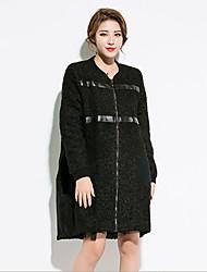 Damen Solide Street Schick Anspruchsvoll Ausgehen Mantel,Herbst Winter Rundhalsausschnitt Langarm Auf Links waschen Trocknen Standard
