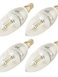 3W E14 Ampoules Bougies LED C37 32 SMD 3014 250 lm Blanc Chaud Décorative AC 100-240 110-120 V 4 pièces