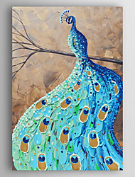 Hand-Painted  a Blue Peacock on a Tree  by Knife Canvas Oil Painting With Stretcher For Home Decoration Ready to Hang