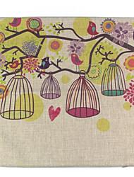 RayLineDo® Linen Cotton Square Throw Pillow Cover Birdsong Decorative Pillow Case CTJZ21-PC-BIRD