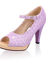 Damen-High Heels-Kleid Lässig Party & Festivität-Tüll-StöckelabsatzBeige Purpur Rosa