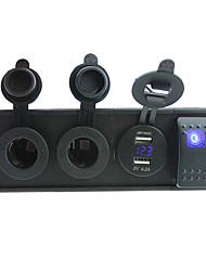 CC 12V / 24V LED de encendido del voltímetro tomas de puertos USB 4.2a con cables de puente de interruptores de balancín y titular de la