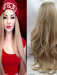 Lace Synthetic Hair Wigs/Ombre Lace Front Wigs Body Wave Two Tone #1b/27 Blonde Synthetic Lace Wigs