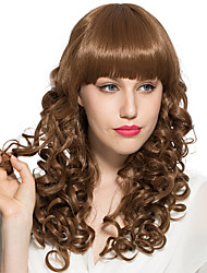 Capless Golden Brown Synthetic Fiber Long Natural Wave With Neat Bangs Women Wig With Cap