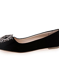 Women's Flats Comfort PU Spring Summer Casual Comfort Pearl Low Heel Black Gray Rose Pink Ruby Blushing Pink Under 1in