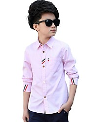 Boy Casual/Daily Color Block Shirt,Cotton Spring Long Sleeve