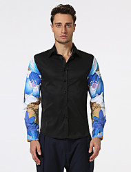 Men's Casual/Daily Street chic Shirt,Solid Shirt Collar ½ Length Sleeve Polyester