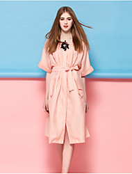 Dreamy Land Women's Going out Casual/Daily Simple Shift DressSolid Round Neck Knee-length  Length Sleeve Blue Pink Silk Polyester NylonSpring