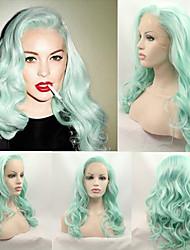 cheveux pastel douce vague mode menthe verte chaleur résistantes perruques synthétiques avant de lacet pour perruque verte nouvelle