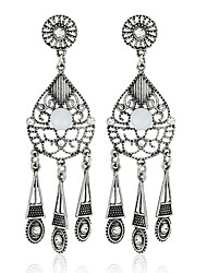 Diamond Crystal Dangle Earrings Jewelry Party Daily Casual Alloy Silver Plated 1 pair Silver