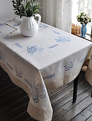 Embroidered Tablecloth Classical Linen Tablecloth Vintage Vase Table Cover 100x150cm For sale