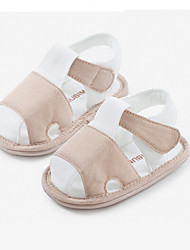 Baby Flats First Walkers PU Spring Fall Casual Outdoor Walking First Walkers Magic Tape Flat Heel White Blushing Pink Flat