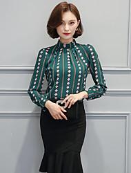 подписать весной 2017 новые женщины стоят воротник рубашки блузка была тонкая печать рыхлый рубашку с длинными рукавами