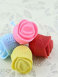 3PCS Creative rose tea filter tea roses for silicone gel tea tea tea strainer(Random color)