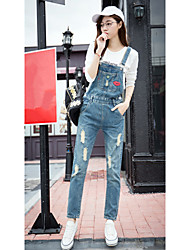 Sign 2017 spring new women's denim overalls students can do curling pantyhose