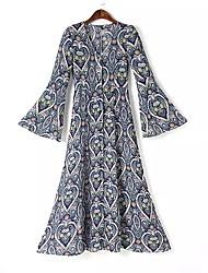 Manteau Femme,Imprimé Sortie simple Manche Longues Col de Chemise Repasser à l'envers Coton Long Printemps