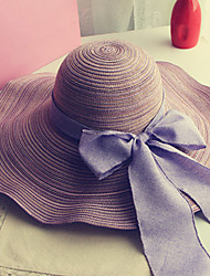 Women Fashion Wide Large Brim Floppy Straw Hat Sun Hat Beach Cap Casual Bowknot  Summer Holiday