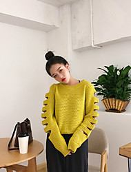 Real shot in Europe and America 2017 spring new openwork stitching short sleeve knit sweater women