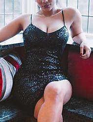 Femme Strass Moulante Robe Soirée Soirée Sexy simple,Couleur Pleine A Bretelles Au dessus du genou Sans Manches Noir Polyester Eté