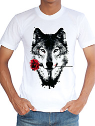 Men's Sports Casual/Daily Beach Holiday Vintage Simple Street chic Spring Summer T-shirt,Print Animal Print Round Neck Short Sleeve