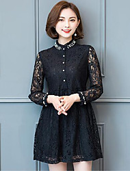 Women's Plus Size Casual/Daily Simple Lace Dress,Solid Lace Beaded Shirt Collar Above Knee Long Sleeve Rayon Acrylic Black Spring Mid Rise