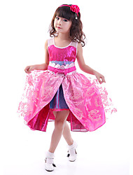 Children's Ballet Dance Dress Performance Polyester/Spandex Splicing 2 Pieces Sleeveless Dress Fuchsia Kid's Jazz Dancewear